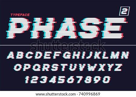 Vector decorative futuristic font design, alphabet, typeface, shadow, color swatches. Vector illustration