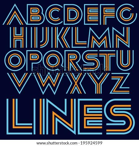 Vector decorative geometric font Modern type