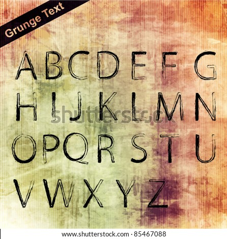 Vector decorative grunge alphabet set