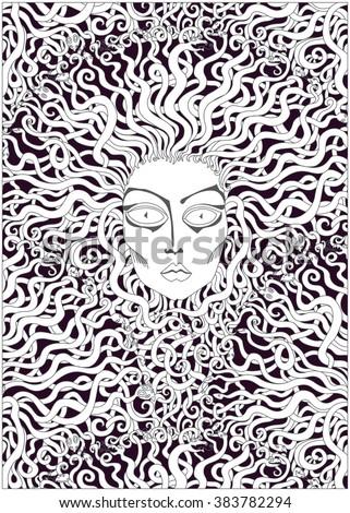 vector decorative medusa face