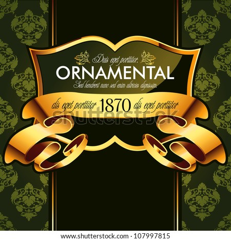 Vector decorative ornamental background with golden elements
