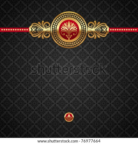 Vector decorative ornamental background with golden elements - stock vector