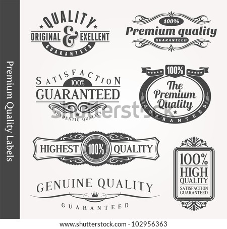 Vector decorative ornamental emblems of quality