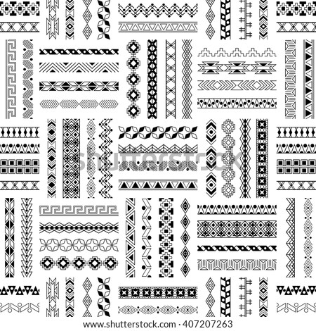 Vector decorative seamless pattern. Tribal dividers collection. Border frame design. Vintage ornamental lines. Ethnic fashion texture. Hipster strokes