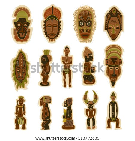 Vector Decorative Tribal Totem African Masks