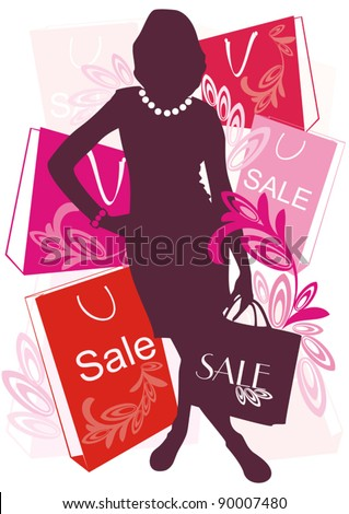 Vector decorative   women silhouette with big bag for purchase on background with sale boxes, packets and ornamental elements #90007480