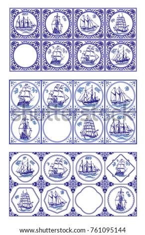 vector delft blue dutch tiles