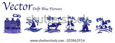 Vector Delft Blue folk pictures