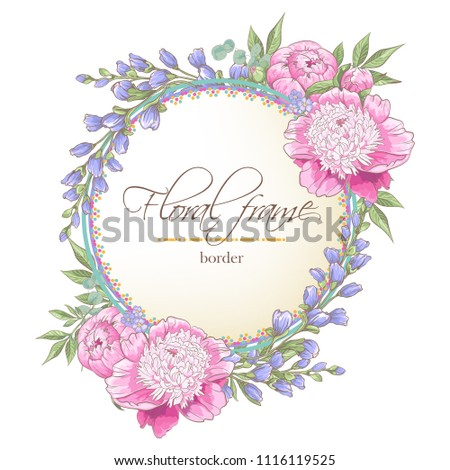 Vector delicate invitation with peony flowers and eucaliptus for wedding, marriage, bridal, birthday, Valentine's day. Floral border with sketch colorful blossoms. Frame with hand drawn flowers #1116119525