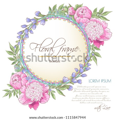 Vector delicate invitation with peony flowers,bluebells,eucaliptus for wedding, marriage, bridal, birthday, Valentine's day. Floral border with sketch colorful blossoms. Frame with hand drawn flowers #1115847944
