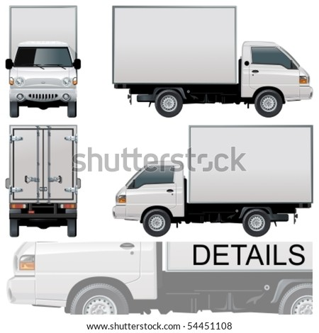 Vector delivery cargo truck
