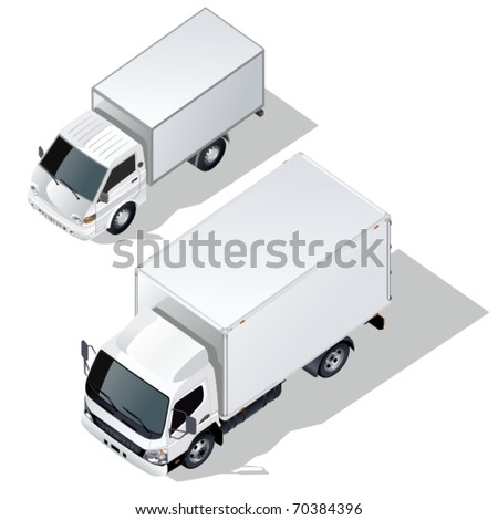 Vector delivery truck isometric set