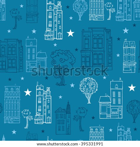 vector denim blue town houses