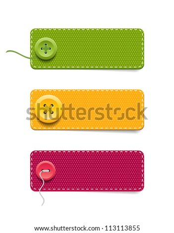 Vector denim fabric rectangular colorful badges set with buttons