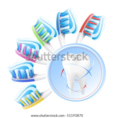 Vector. Dental concept. White tooth,  color toothbrush with toothpaste.