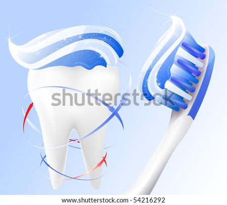 Vector. Dental concept. White tooth, toothbrush and toothpaste.