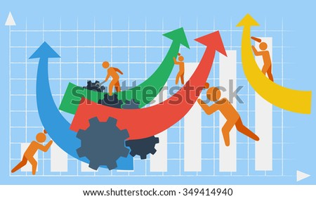 Vector depicting business or industrial growth in the context of team work in the background of a bar chart