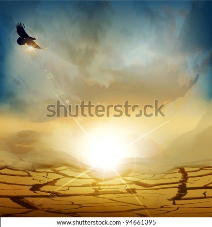 vector desert landscape with