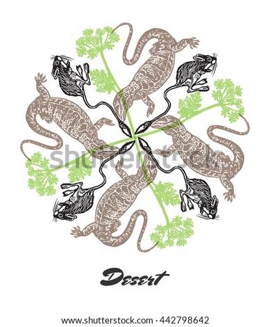 vector desert mood engraved