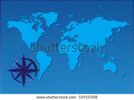 Vector design abstract of a compass on the world