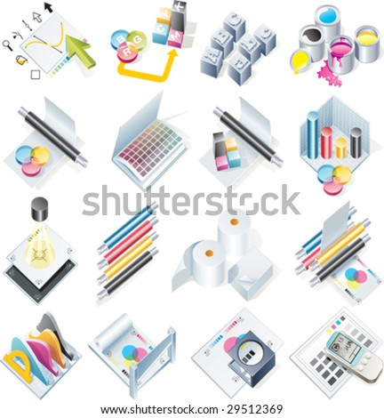 Vector design and print service icon set