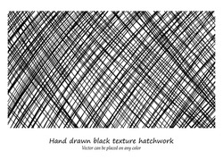 vector design background pattern, hand drawn diagonal hatchwork lines that criss cross in cool artsy textured black background design, can be changed to any color, and placed on any color