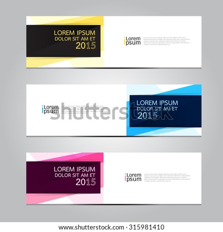 Vector design Banner backgrounds in three different colors.