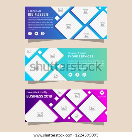 Vector design Banner backgrounds in three different gradient colors. - stock vector - horizontal banner with photo collage