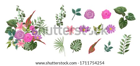 Vector design bouquet with botanical leaves summer spring Flowers pink rose and purple rose, Green leaves, Flowers lily pink, Design Invitation cards, Greeting Card, Poster, wedding card.