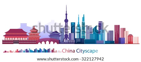 Vector Design Building and City of China, Abstract China Building of ancient and modern, Beijing, Shanghai