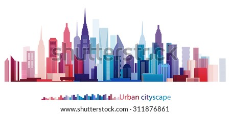 Vector Design Colorful Building and City, Urban cityscape, Twilight in city
