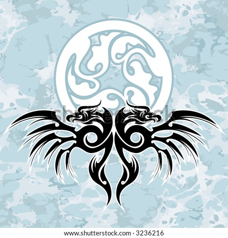 vector design element, black dragons and circle on grunge background. Well  will approach for cd or t-shirt - stock vector