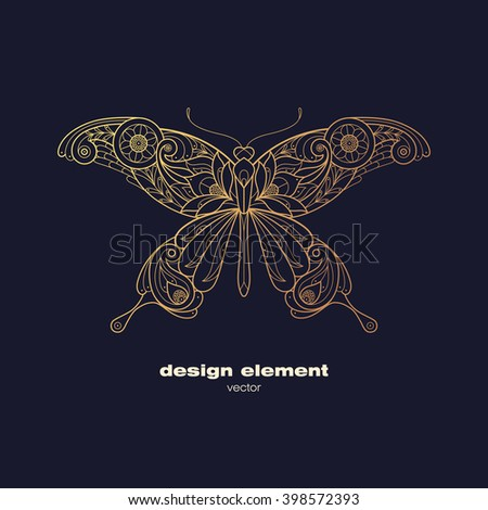 Vector design element - butterfly. Icon decorative insect isolated on black background. Modern decorative illustration. Template for logo, emblem, sign, poster. Concept of gold foil print.
