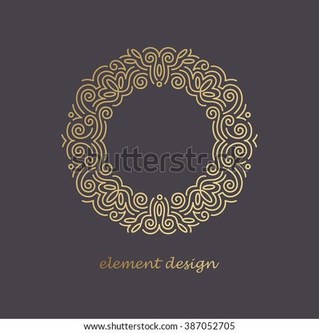 Vector design element. Template for creating logo, icon, symbol, emblem, monogram, frame. Linear trend style. Illustration gold pattern on black background. Concept of  unusual abstract luxury.