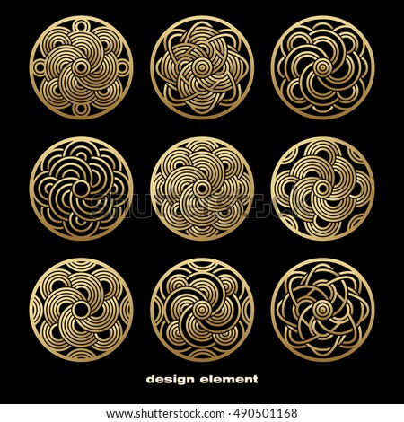 Vector design element. Template for creating logo, icon, symbol, emblem, monogram frame. Linear trend style. Illustration gold pattern on black background. Concept  unusual abstract luxury decor. Set.