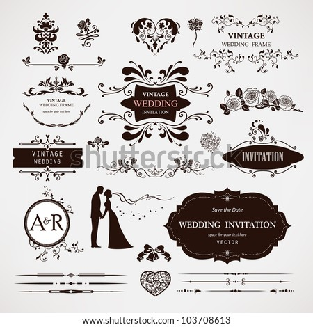 Vector design elements and calligraphic page decorations for wedding #103708613