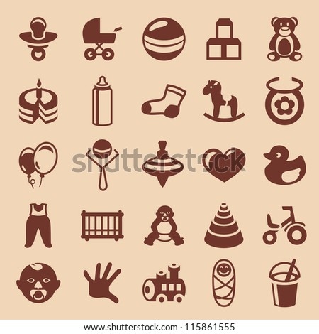 Vector design elements for children and kids - collection of icons - stock vector