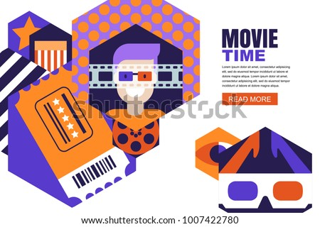 Vector design elements for cinema flyer, poster, entrance ticket or banner. Flat geometric hexagons background. Man in 3d glasses and cinema ticket illustration. Movie, entertainment theme concept.