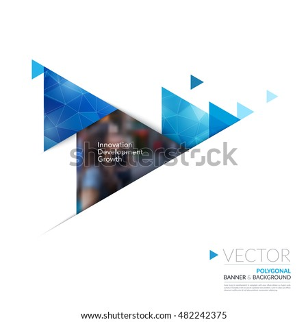 Vector design elements for graphic layout. Modern abstract background template with blue moving triangles, arrows with polygonal background for business, construction in clean minimal style.