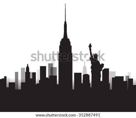 Vector Design - eps10 Building and City of New York, Urban cityscape of America, Abstract New York City Skyline, Twilight in city, Black silhouettes of New york