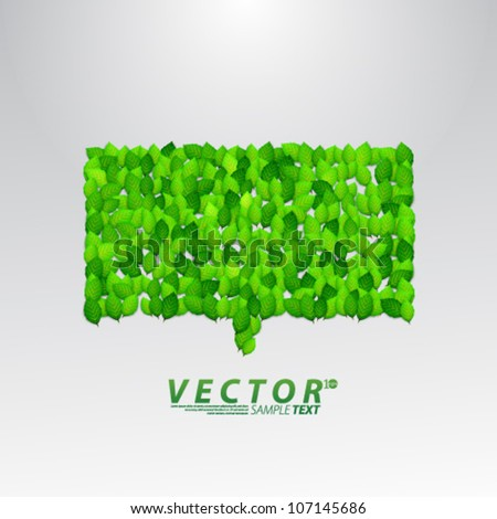 Vector Design - eps10 Green Bubble Talk with Leaves Background
