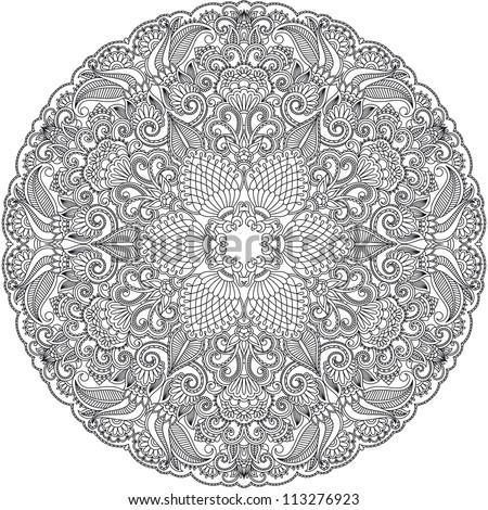 Vector design floral round ornament.