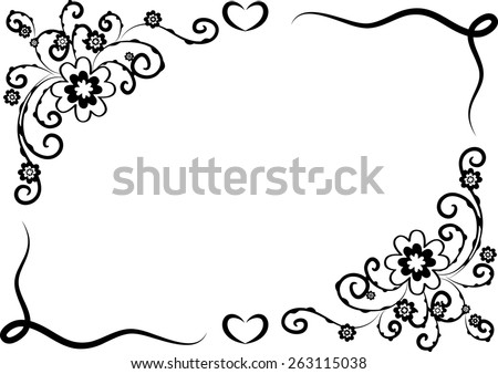 Vector Design Flowers With Border In Black And White Stock Images