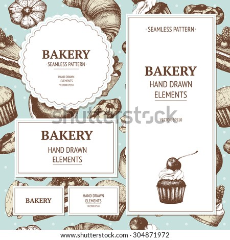 Vector design for bakery or baking shop with hand drawn bread illustration. Vintage bakery sketch background.