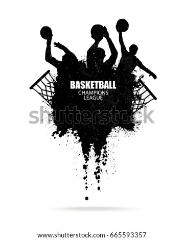 Vector design for basketball, hand drawing, grunge style, splashes, texture (mask). Abstract background. Ink brush strokes. EPS file is layered.