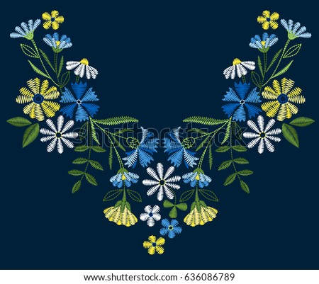 Vector design for collar t-shirts and blouses. Colorful ethnic flowers neck line. Embroidery for Fashion. Vector illustration.