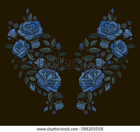 Vector design for collar t-shirts and blouses. Embroidery for Fashion. Blue roses embroidery on black background.