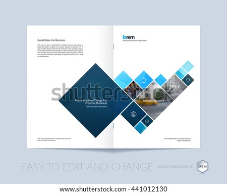 Vector design for cover annual report. Brochure or flyer in A4 with squares and arrow for business and communication in flat style with mosaic connection concept. Abstract modern poster.