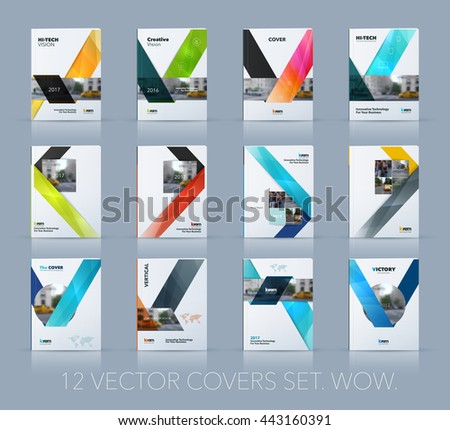 Vector design for cover annual report. Mega set. Brochure or flyer template in A4 with ribbon stripe shape in polygonal style for technology concept layout for business. Abstract modern collection.