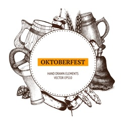 Vector design for German traditional food in retro style for Oktoberfest. Vintage background with ink hand drawn food illustration isolated on white.